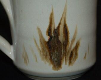 Ceramic Mug, Coffee Mug, Brown and White, Sumi-e Brushwork, Ceramics and Pottery Mug, Pottery Handmade