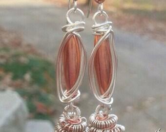 Enchanted Kyanite, Copper, Silver, and Kyanite earrings, ThePurpleLilyDesigns