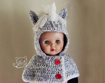 Hooded Unicorn Cowl, Capelet - INSTANT DOWNLOAD Crochet Pattern