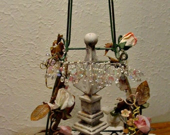 Wicker Trellis Stand - Vintage Millinery Flowers - Finial - Shabby Chic - French Farmhouse - Home Decor