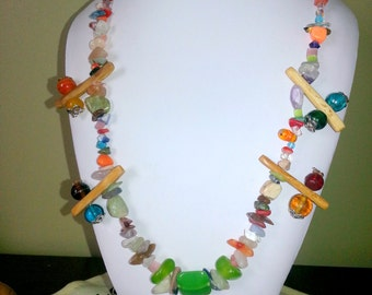 Handmade genuine stone necklace multicolor long single line 24 inch around neck 12