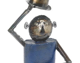 Freestanding Man Sculpture Sir Blue Tabletop Art