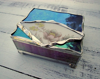 Iridescent Purple Stained Glass Jewelry Box With Broken China Detail