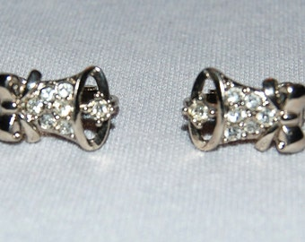 Vintage / Christmas / Bell / Earrings / rhinestone / Silver Tone / old jewellery jewelry