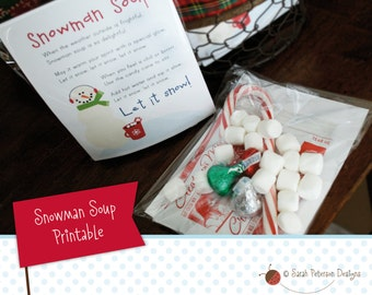 Snowman Soup Gift Insert - Instant Download Printable