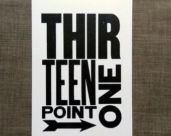 Art for Runner - Half Marathon - Thirteen Point One - Wall Art - Letterpress Poster Print - Black and White