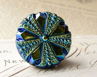 22mm round cobalr blue, Czech glass shankless button, hand painted, hand forged, flat back cabochon, pin wheel, chartreuse, royal blue
