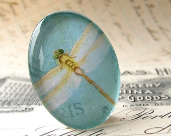 Dragonfly cabochon, artisan crafted 40x30 mm glass oval cabochon, 40x30mm 30x40mm, white wings, gold insect, aqua blue, glass cabochon,