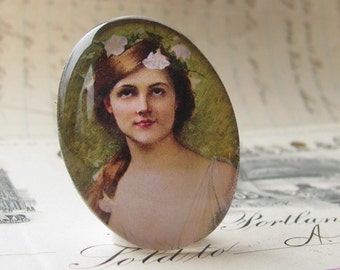 Art Nouveau woman cabochon, pastel sage green, white flower, fair hair, handmade 40x30 40x30mm 30x40mm 40 30 mm glass oval cabochon