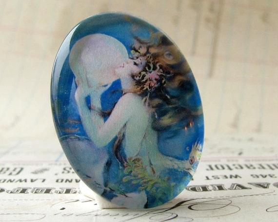Luna, the Tidal Mermaid and Her Moon Pearl, handmade 40x30 40x30mm  glass oval mermaid cabochon, white, blue, woman, hair, female ferility
