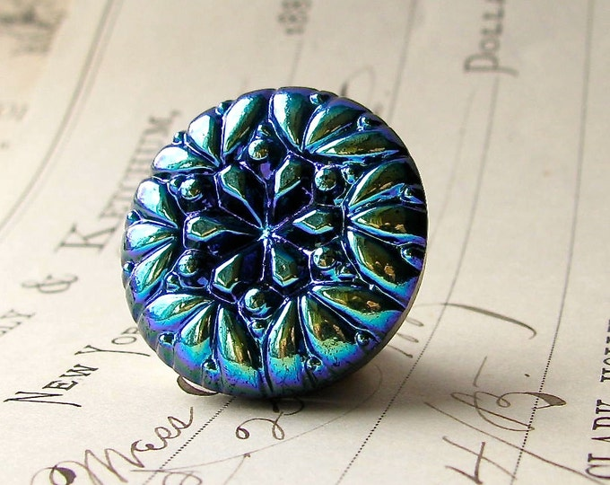 22mm round aqua flower, Czech glass shankless button, hand painted, hand forged, flat back cabochon, chartreuse, cobalt blue