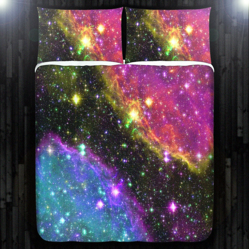 Outer Space Stars Nebula Galaxy Duvet Cover Bedding Queen Size
