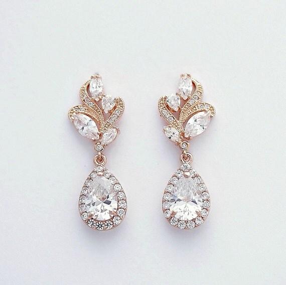 Brautschmuck ohrringe gold  Rose Gold Hochzeitsohrringe Kristall Braut Ohrringe rosa