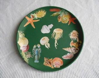 Sealife Decoupaged Green Large Tray 35cm Diameter