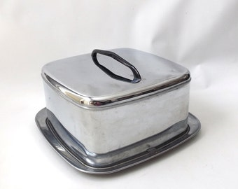 vintage 1950's chrome cake carrier pan to go storage travel plate tray serving retro mid century modern silver lid lidded lincoln beautyware