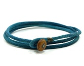 Mens blue triple wrap leather bracelet