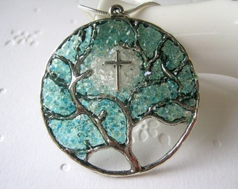 Cross Necklace Silver Tree Pendant Cathedral Stained Glass Christian Bible Religious Icon Aquamarine Jewelry March Birthstone Large Cross