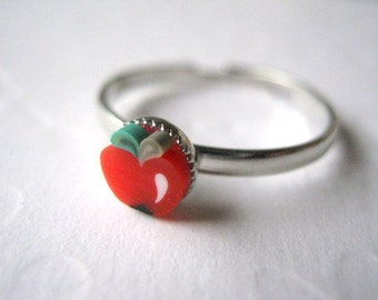 Tomato Ring Stacking Ring Polymer Clay Ring Adjustable Ring Fruit Ring Thin Silver Ring Stackable Ring Tomato Jewelry Red Tomato
