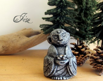 Jizo Votive Statue - Guardian of Children, Women, Travelers and All Voyagers - Bhuddist Bhodisattva Handmade by Bewilder and Pine