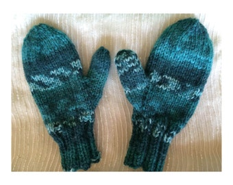 Children's Mittens, Turquoise, Soft, Machine Washable Dryable, Hand-Knit in Folksy Pattern