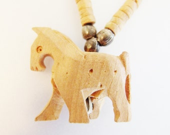 Cute Vintage Carved Wood Horse Necklace