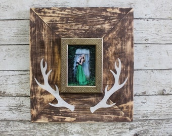Deer Antler Raw Distressed Wood Frame with a pop of Metallic 5x7
