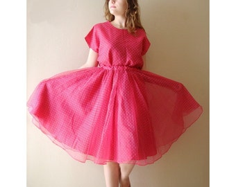 Vintage Skirt and Blouse 50s style Pink polka dot Full Circle Skirt Party Dress Two Piece Dress