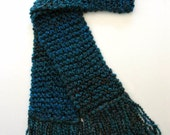 Extra Long Scarf Dark Teal Blue Men Women Chunky Hand Knit Winter Scarf 10 ft long