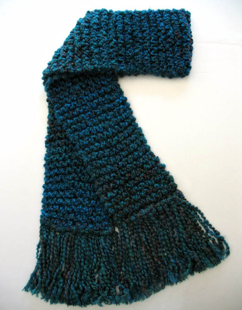 teal blue scarf scarf chunky knit by