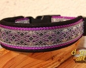 Handmade Easy Release Buckle Leather Dog Collar SHANOA by dogs-art in sparkly black/purple/shanoa purple