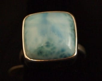 Sterling Silver and Larimar Ring Size 7  1/2