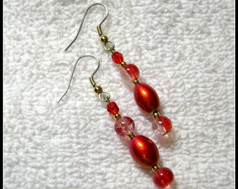 Red Earrings - Pink And Red Jewelry - Dangle Earring - E114