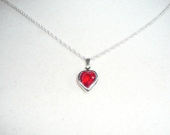 Tiny Heart Necklace, July birthstone, ruby Swarovski crystal