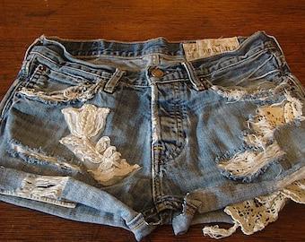Destination Wedding Bride Weekend Bridal Lace Pearl beaded  upcycled denim jean frayed distresssed shorts