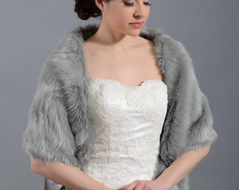 Silver faux fur bridal wrap shrug stole shawl cape FW010-Silver