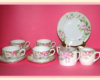 Antique Nippon Tea Set, Cups, Saucers, Dessert Plates, Sugar Bowl, Creamer, Pink Azalea, Tea Time, Brunch, Lunch, 15 Pieces, 1911 to 1920