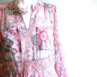 vintage. 70s Jonathan Logan Muted Pink Floral Dress / S M