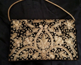 Vintage 1950's Fleur di Lis and Flower Gold Bullion Embroidered Velveteen Evening Bag from India
