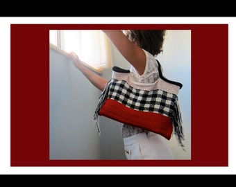 Hand Knitted Handbag with fringe - Check the Checked by Knit Mystique