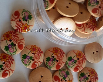 """Wild Flowers - 5 Wooden Buttons (3/4"""") - Red / Green"""