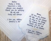 Custom Parents of the Bride MOM and DAD Embroidered Wedding Handkerchiefs Personalized Mother of the Bride Father of the Bride Hankys