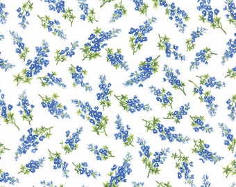 BLUEBONNETS Moda Fabric 3 yds Royal Blue & Cloud White TEXAS quilt sewing lupines Sentimental Studios Wildflowers VII 3 full yards 32973-11