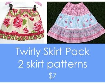 Girls skirt pattern, Easy skirt pattern, Skirt pattern, Children sewing patterns, Toddler pattern - 2 Twirly skirt patterns