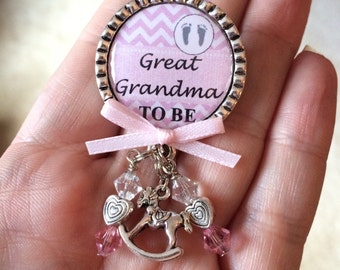 Great Grandma to be pin, Pink, Baby Girl, Personalized Gift, Baby Shower, First Baby, Pregnancy Announcement, Baby Feet, Rocking Horse Charm