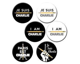 """6 Je Suis Charlie Pins - I Am Charlie Hebdo Small 1.25"""" Pin Back Buttons or Badges - Solidarity with French Terrorist Attack Victims"""