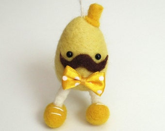 Easter Egg felt ornament : Needle felted egg figurine - yellow egg with a yellow hat and bow tie. Spring, Nursery decor.