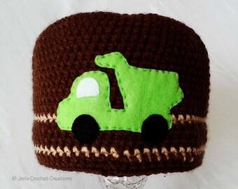 Crochet Beanie with Dump Truck Embellishment