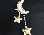 Crescent Moon and Shooting Stars - Dangling 2way clip