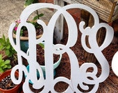 "24"" unfinished monogram, vine font measures approx  24""x24"""