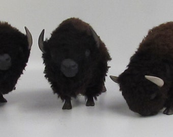 American Bison Figure in Porcelain, Wool and Stone